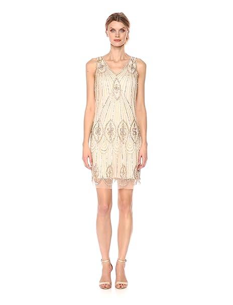 1920s Style Dresses, Flapper Dresses Pisarro Nights Womens Short Sleeveless Beaded Dress With Scallop Hem $188.00 AT vintagedancer.com