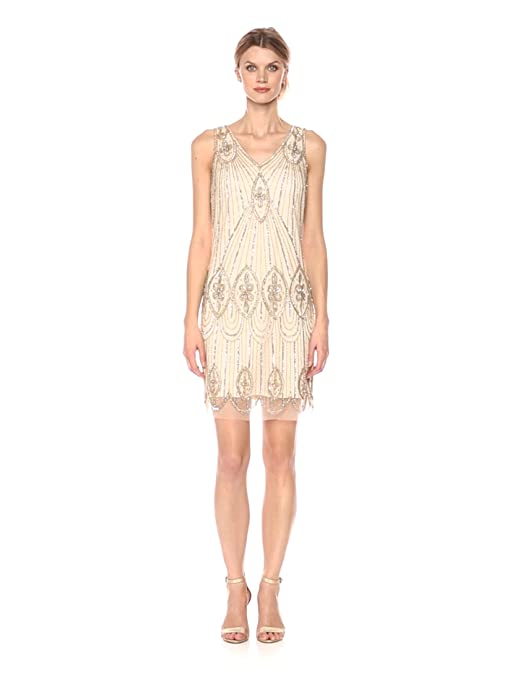 1920s Style Dresses, Flapper Dresses Pisarro Nights Womens Short Sleeveless Beaded Dress with Scallop Hem $188.00 AT vintagedancer.com