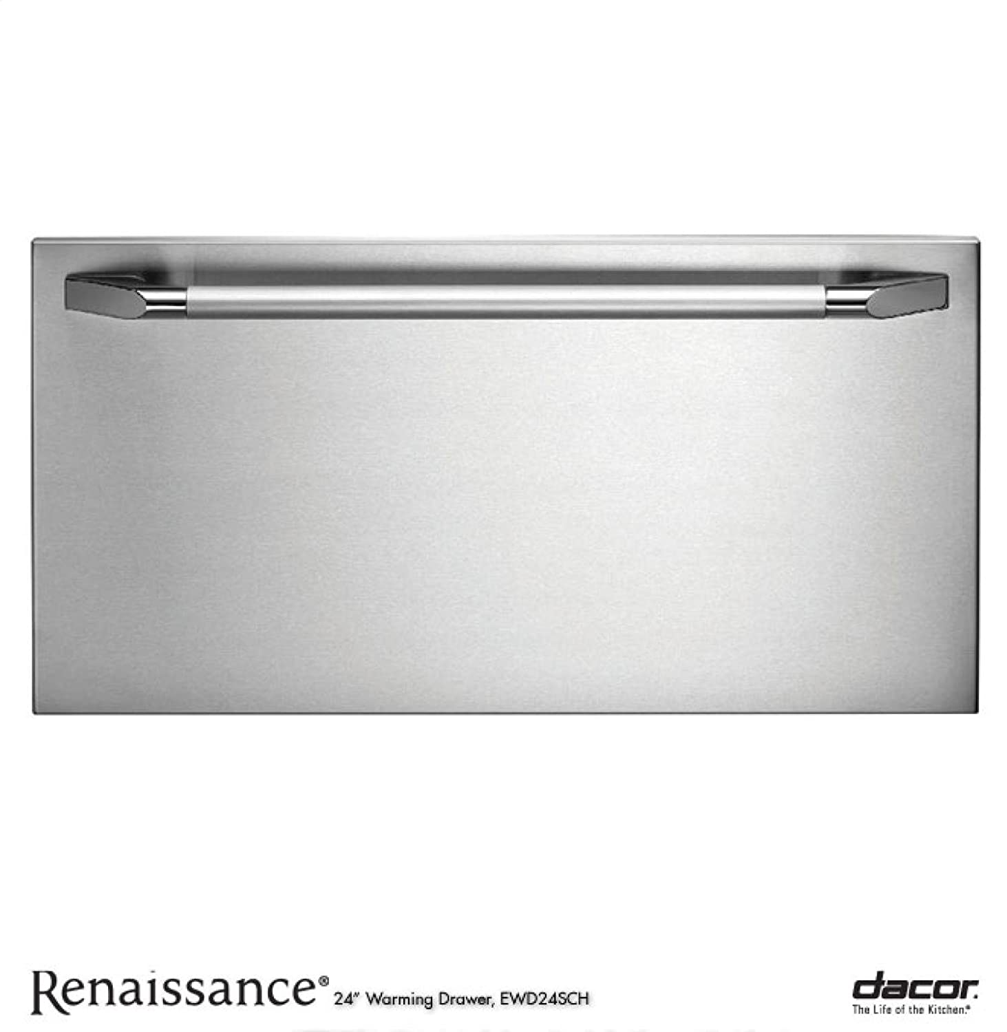 Dacor EWD24SCH Renaissance 24' Epicure Warming Drawer with 500 Watt Heating Element 4 Timer Settings Plus Infinite Mode and Blue LED Light Indicator: Stainless Steel with Chrome