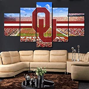 Large Framed Oklahoma Sooners Stadium Canvas Print Wall Art Home 5 Piece-150x80 cm