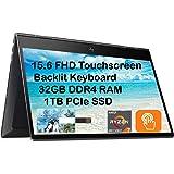 "2021 Newest HP Envy x360 2 in 1, 15.6"" FHD Touchscreen Business Laptop, AMD 8-Core Ryzen 7 4700U (Beat i7-8550U), 32GB RAM, 1"