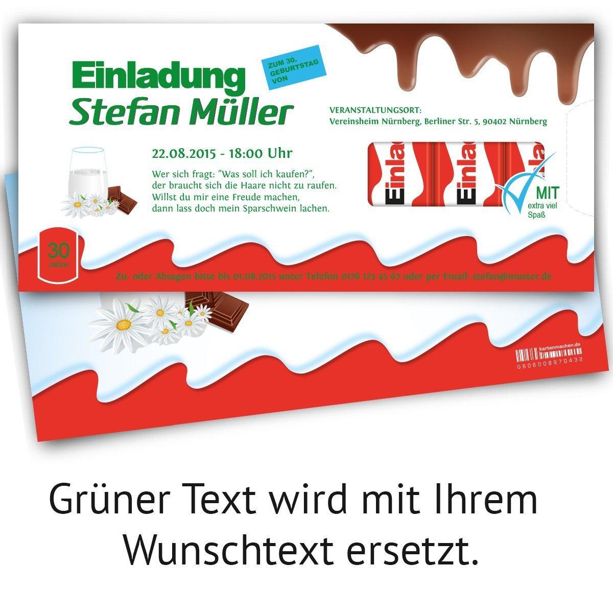 Einladungskarten Gestalten Kostenlos Amazon: 11er Set Einladungskarten Schokolade Lustige Einladung