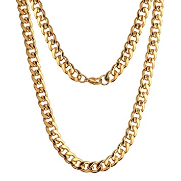 d3699788229b9 Adecco LLC Ultra Luxury Look & Feel Real Solid 14k Gold plated Curb Fake  Chain Necklace 10mm (24inch)