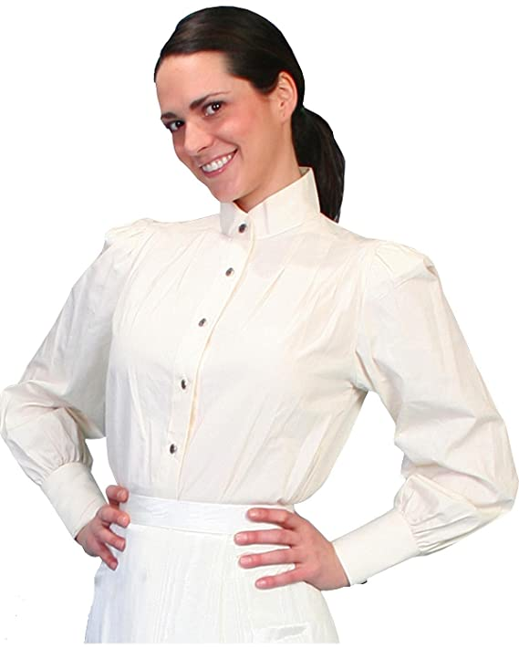 Victorian Blouses, Tops, Shirts, Sweaters Scully Victorian Style Blouse with Stand Up Collar - Ivory $42.88 AT vintagedancer.com