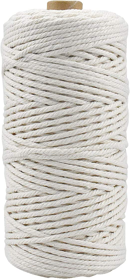 HQdeal Macrame Cuerda, 3mm x 100m Cordón Hilo de Algodón Natural ...