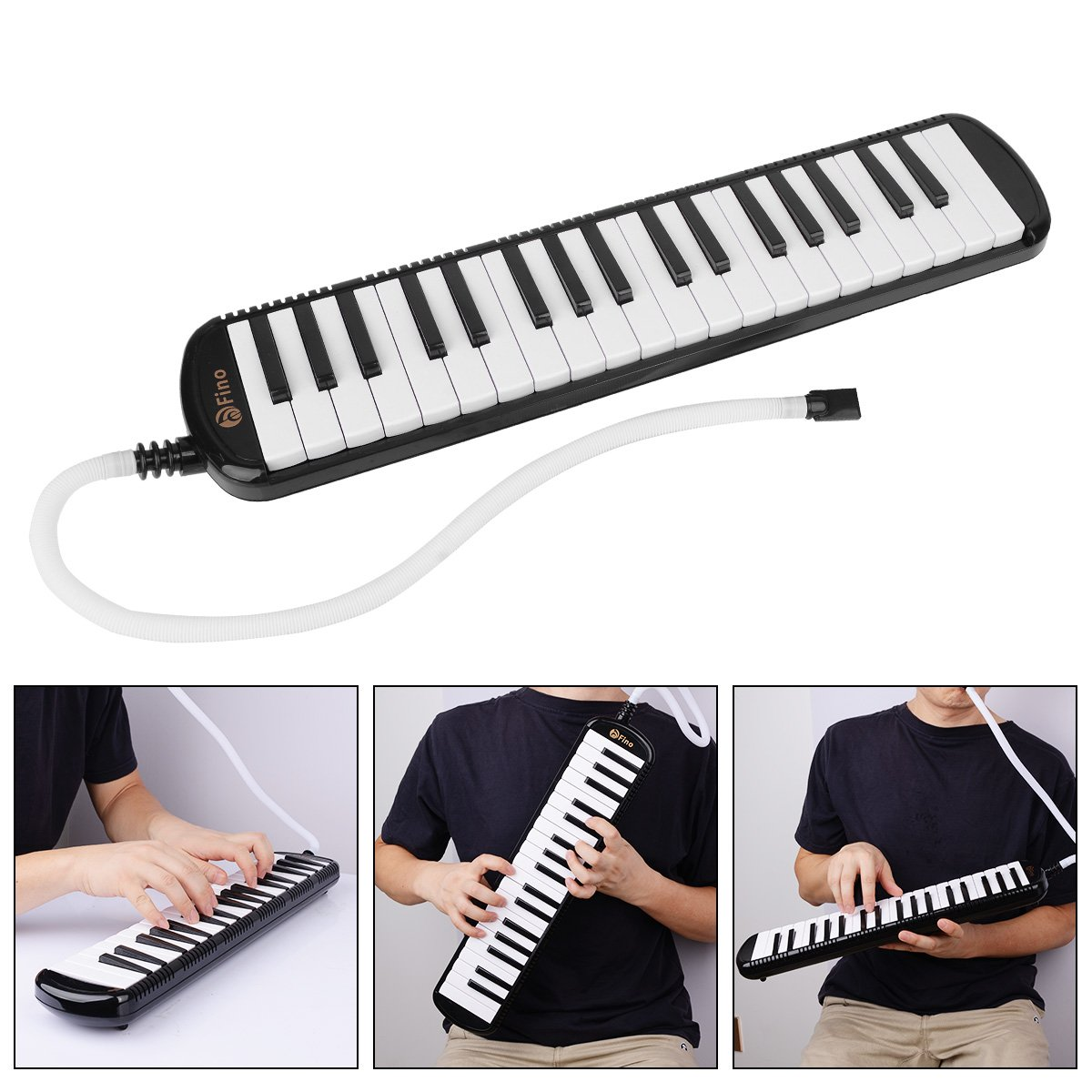 FINO 37Key Melodica Instrument Kit Pianica Wind Musical Instruments Air Piano Keyboards with Mouthpiece Tube Set Portable for Music Lovers Beginners Gift with Carrying Bag Black