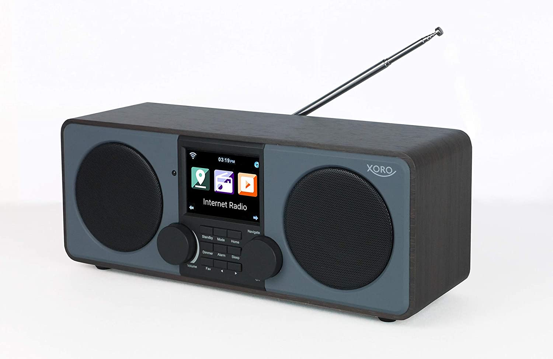 Xoro DAB 600 IR V3 Stereo Internet DAB+//UKW Radio inkl AUX Spotify Connect USB 2.0 Internet-Radio mit WLAN 2 x 5 Watt RMS Bluetooth App-Steuerung Weckfunktion Wetterstation FB braun//grau