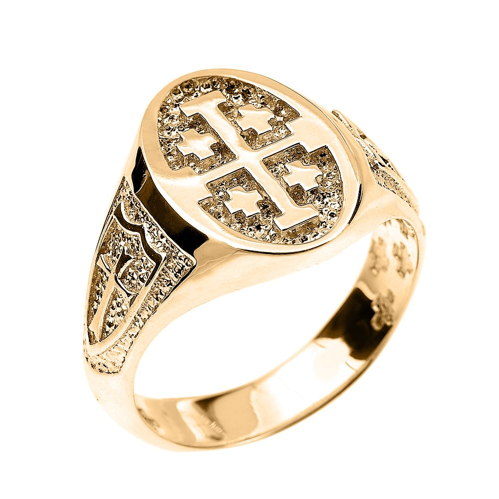 Solid 14k Yellow Gold Jerusalem Cross Ring (Size 9.5)