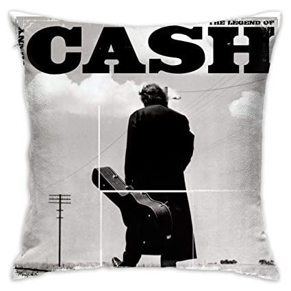 23fc8487fb80 Amazon.com: LeafLover Johnny Cash Cotton Cushion Cover Square Throw Pillow  Case for Sofa/Bench/Couch,18