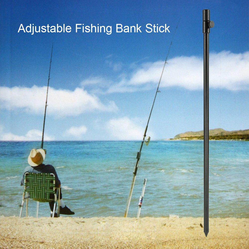Walmeck 34-56cm Extending Aluminum Alloy Fishing Bankstick Adjustable Carp Fishing Bank Stick Fishing Rod Pod Rest for Bite Alarm