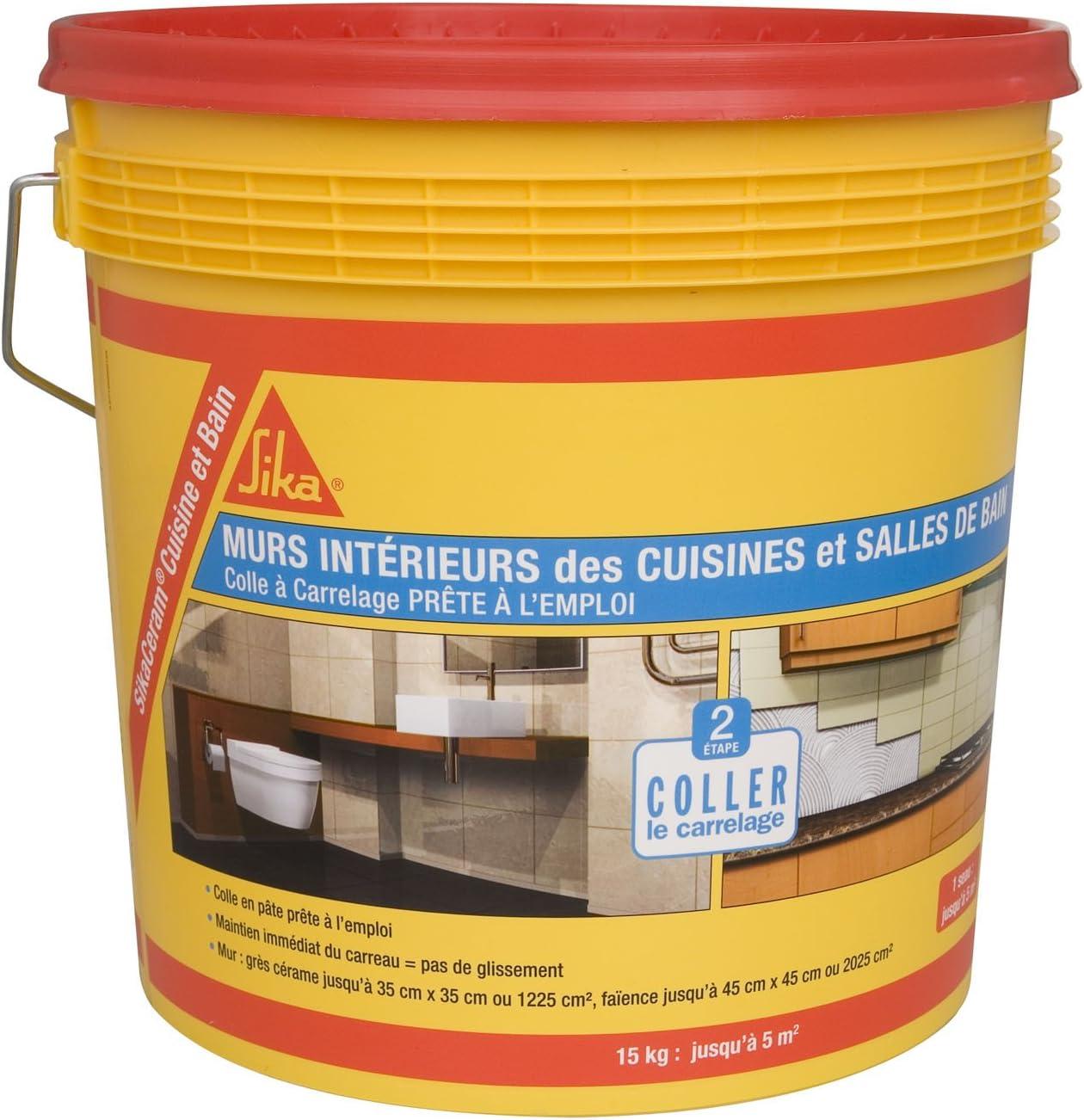 SikaCeram Cuisine et Bain, Colle à carrelage en pâte - facilité de pose  murale (D19-ET), 19kg, Blanc