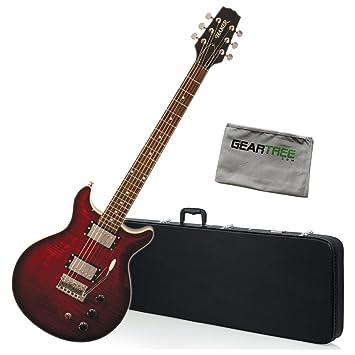 Hamer satfw-dcb oscuro Cherry Burst doble corte para guitarra eléctrica w/gamuza de geartree y duro caso: Amazon.es: Instrumentos musicales