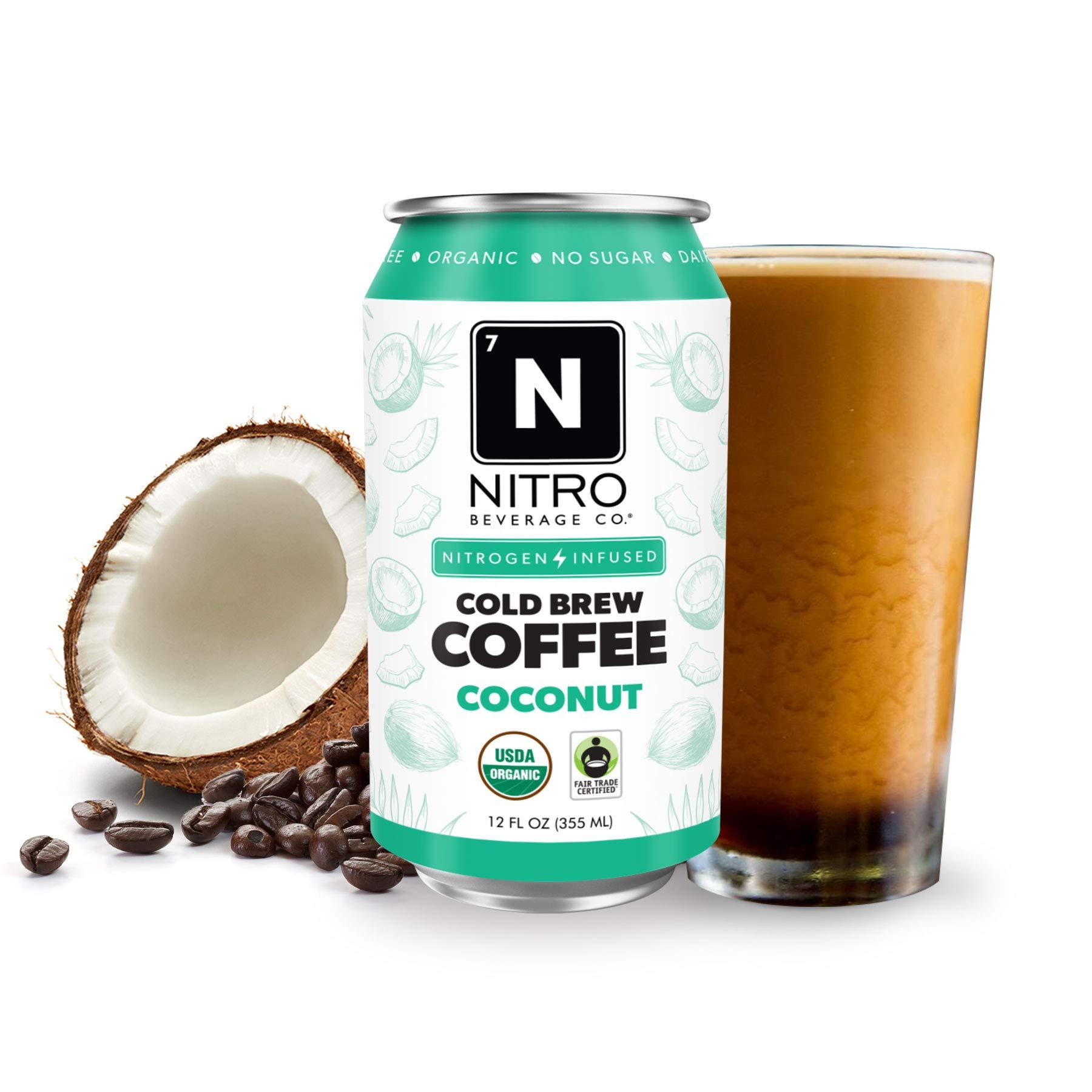 NITRO Beverage Co. | 12-Pack (12 fl oz) | Coconut NITRO Cold Brew Coffee | Certified Organic & Fair-Trade | Sugar Free, Dairy Free, Zero Calories | Always Cold, Always Fresh