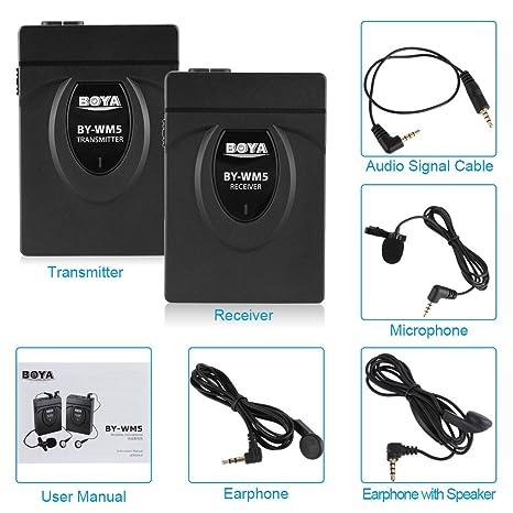 Boya BY-WM5 2.4GHhz Micrófono Mono Inalámbrico Tipo Solapa para Videocámara Cámara DSLR: Amazon.es: Instrumentos musicales