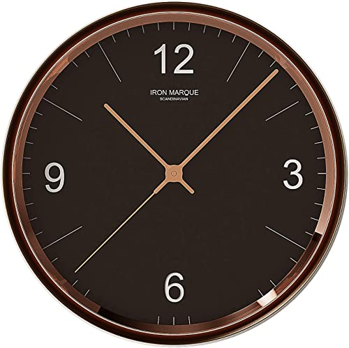 Iron Marque Silent D cor Wall Clock Battery Operated Non Ticking Modern Elegant Quiet Clock