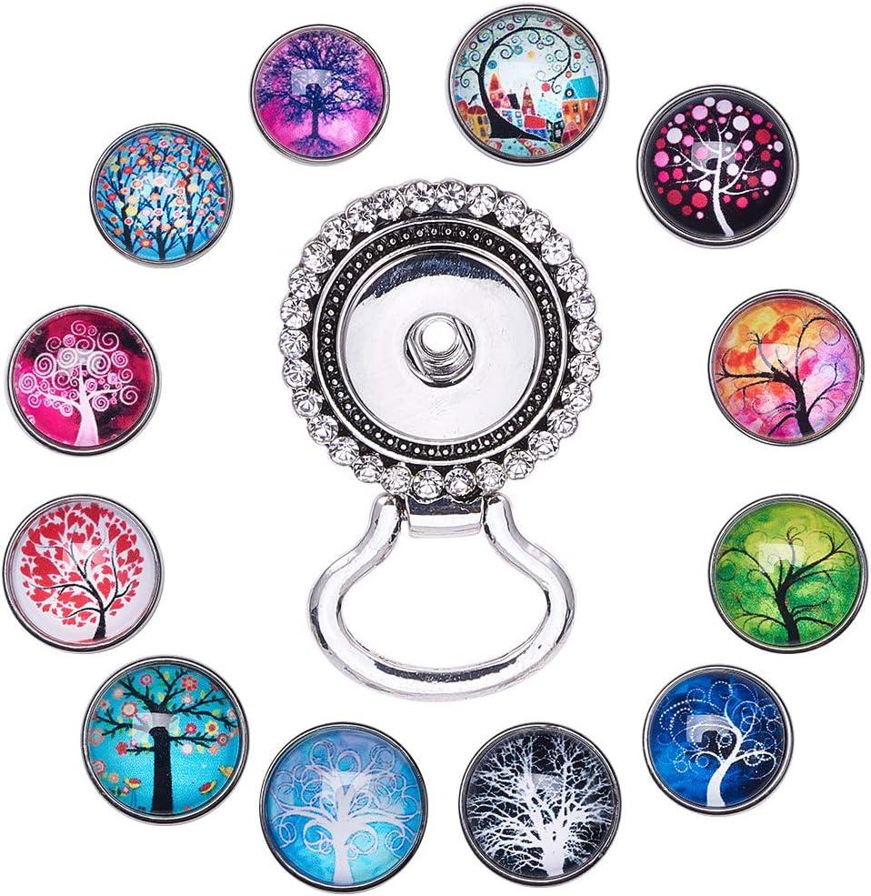 SUNNYCLUE 1 Caja 13 Piezas de Lentes Intercambiables con Broches de Botón Broche de Árbol de la Vida Encantos de Ramo de Cristal Colgantes de Encantos de 18 mm Colgante para Hacer de Joyería