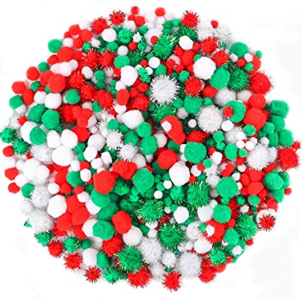 500pcs Pack Assorted  Pompoms Ball for Christmas DIY Accessories 25mm