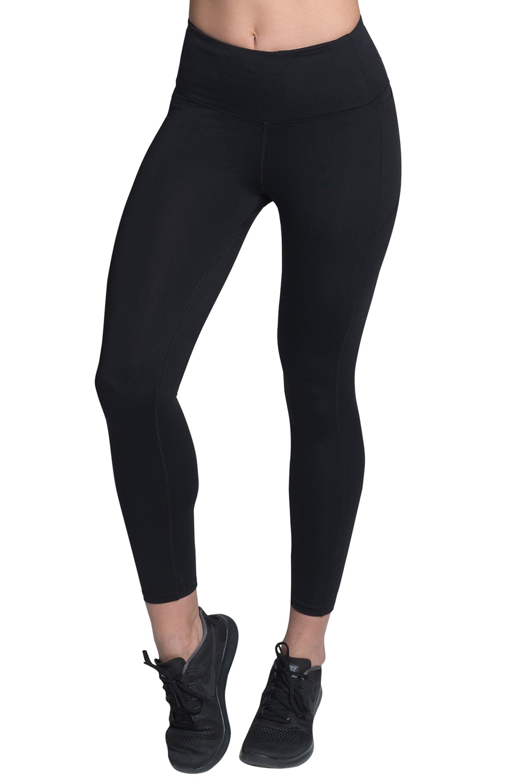 VISAKAI Black 4-Way Stretch High Rise Freedom 7/8 Leggings with Dual Pocket, 23-inch, Small