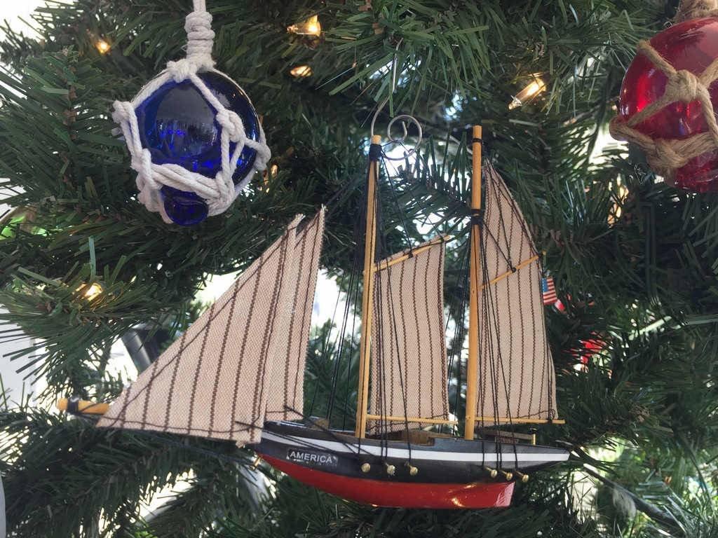 33d7302fb1 Hampton Nautical America-7-x Wooden America Model Sailboat Decoration  Christmas Ornament