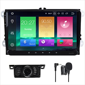 7581b7b3967c7 Amazon.com  Android 8.0 Car Stereo Double 2 Din 9 Inch Capacitive Touch  Screen GPS Navigation System for VW VOLKSVAGEN Golf Passat Tiguan Polo  Jetta Skoda ...
