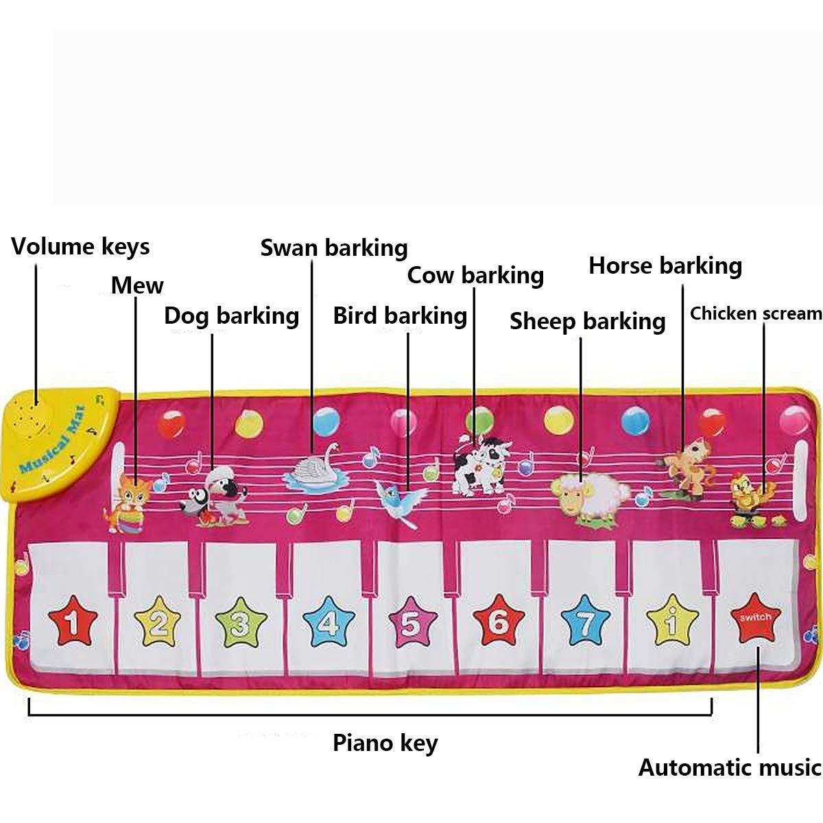 Children's Electronic Piano Mat, Electronic Music Playmat Piano Mat Cartoon Animal Fun Crawling Blanket by Eustoma (Image #3)