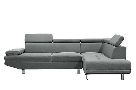 Sofá esquinero, de diseño, de tela gris, 4/5 plazas (esquina ...