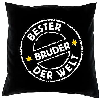 Bester Bruder Der Welt Kissen Komplet Mit Fullung In Schwarz 40 X