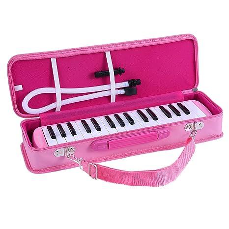ammoon Melodica 32 Teclas con Paquete Duro Pianica Teclado de Estilo Piano Harmónica Órgano Bucal con