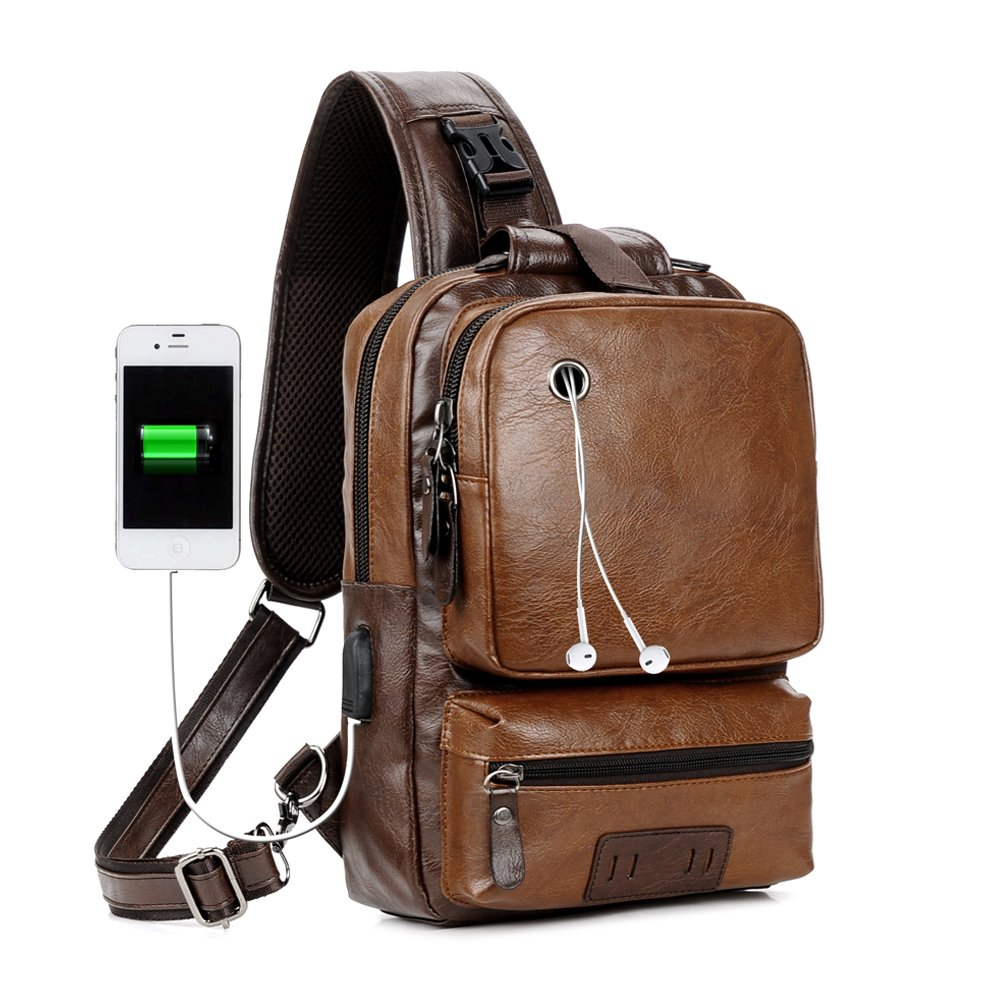 Men Vintage PU Leather Cross Body Sling Backpack Large Capacity Casual Office Travel Backpack With External USB Charge And Earphone Outdoor Bag Brown