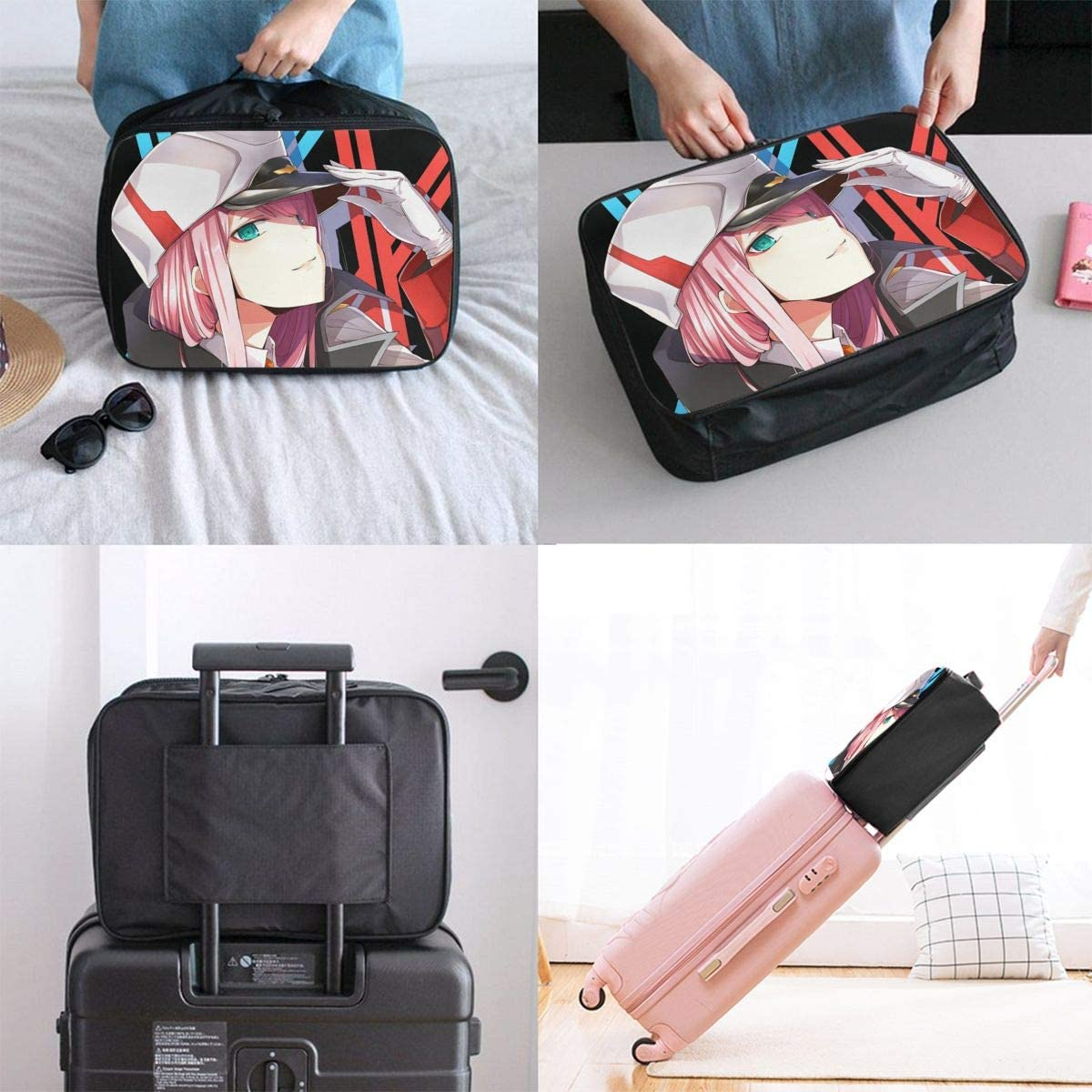 Darling In The Franxx XX Lightweight Large Capacity Portable Luggage Bag Hanging Organizer Bag Makeup Bag