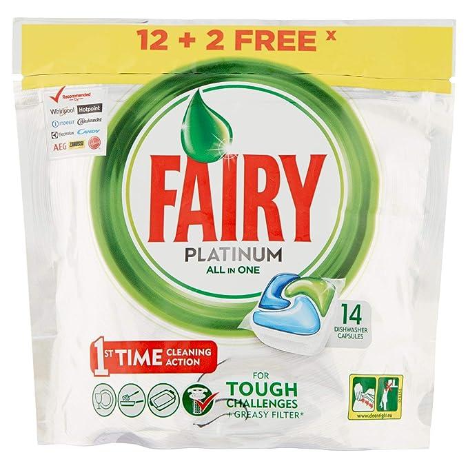 Fairy Platinum Cápsulas Todo en 1 para Lavavajillas - 14 cápsulas (12+2)