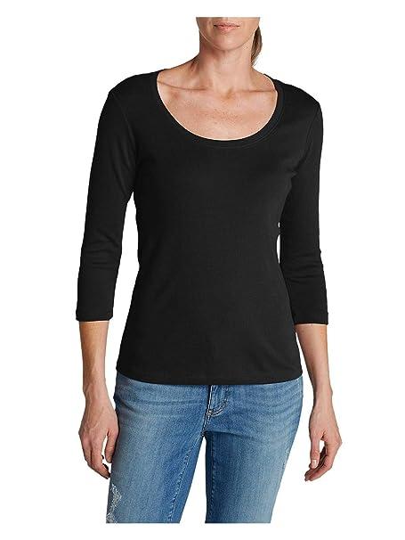 10eca8b2d13 Eddie Bauer Women s Favorite 3 4-Sleeve Scoop-Neck T-Shirt at Amazon ...