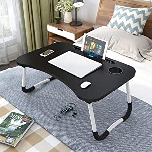 OPPIS Laptop Tray Bed Table, Foldable Lap Table for Breakfast Serving, Notebook Table with Tablet Slots and Holder for Couch Floor for Adults/Students/Kids - Black