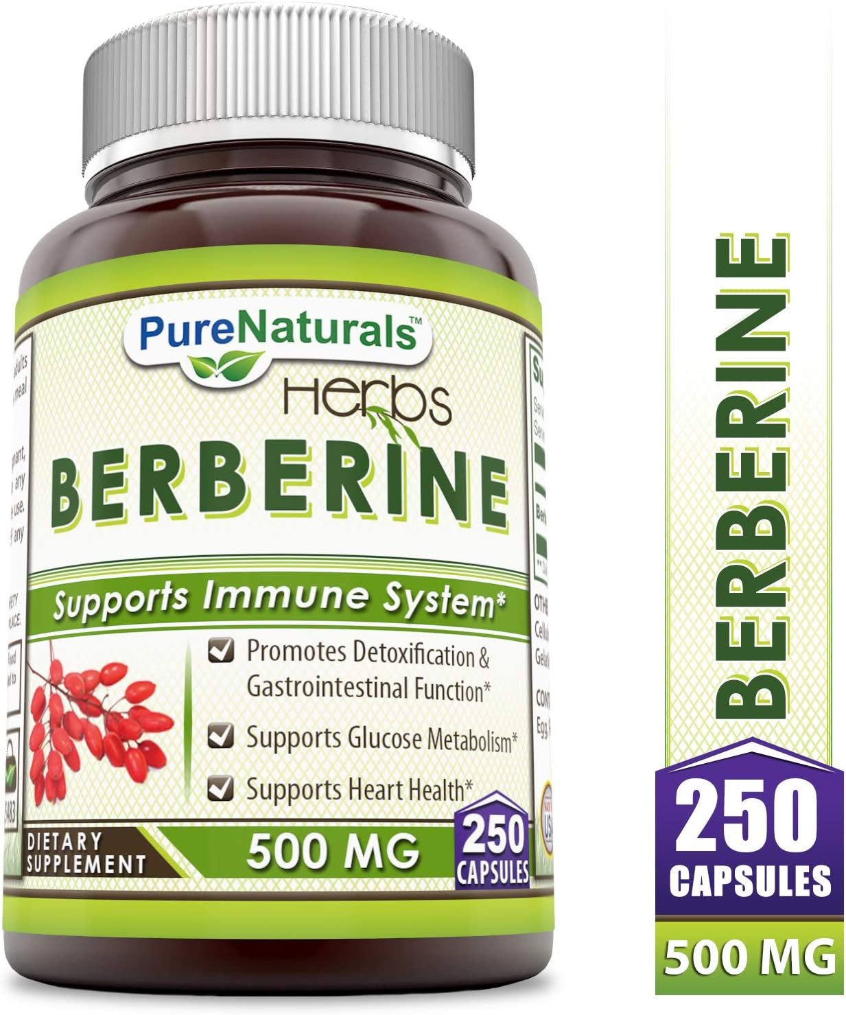 Pure Naturals Berberine 500 mg, Capsules – Supports Immune System – Supports Glucose Metabolism – Aid in Healthy Weight Management 250 Capsules