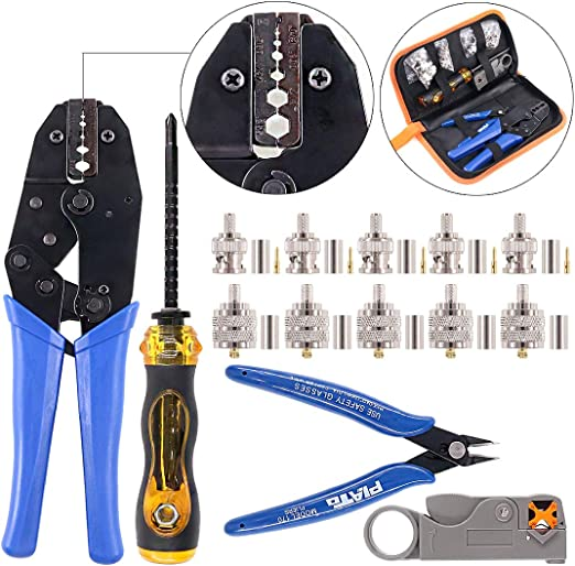Pro Insulated Cable Connectors Terminal Ratchet Crimping Tool Kit Wire Pliers US