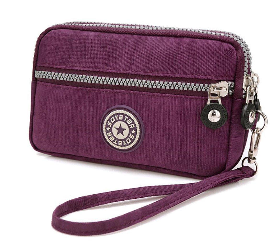 3 Zippers Clutch Wallet Waterproof Nylon Cell phone Purse Wristlet Bag Money Pouch for Women (Dark Purple)