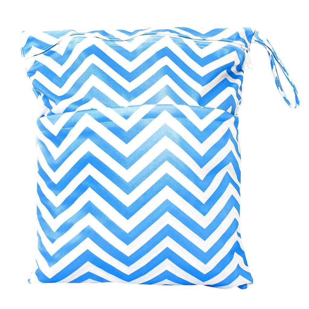 Sac à Couches Lavables pour Bébé Réutilisable Etanche Zippé (Bleu et Blanc) Générique