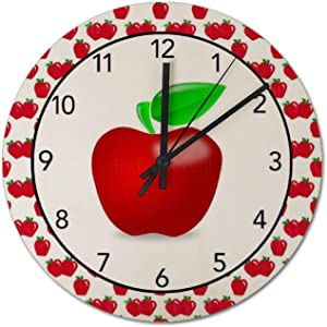 9 Inch Silent Non-Ticking Wall Clock, Red Apples Round PVC Clock Easy to Read, Home/Office/Kitchen/School Clocks