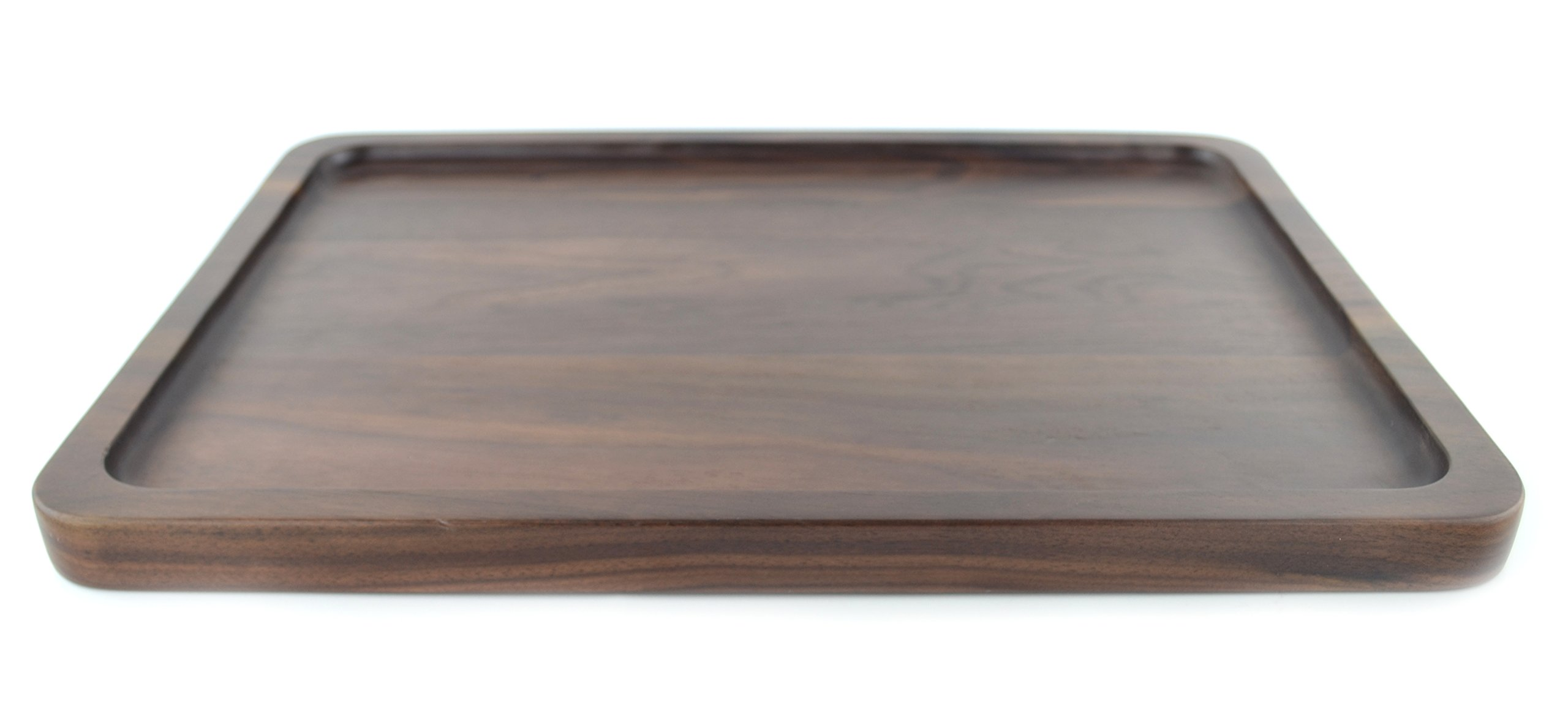 Samyo Black Walnut Solid Wood Rectangular Tableware Serving Tray Handcrafted Decorative Trays Food Tray Serving Platters with gripper for Coffee Wine Cocktail Fruit Meals (Large Size) by SAMYO (Image #2)