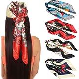 35 Inches Women Head Scarf Hair Bandanas - 4PCS Square Satin Head Scarves for Women Silk Like Hair Kerchief Banadanas…