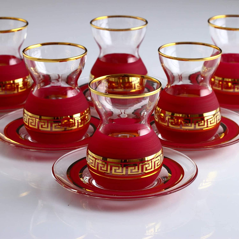 LaModaHome Turkish Arabic Tea Glasses Set, Fancy Vintage Handmade Set for Serving, Teatime, New Home Wedding Gift 12 Pcs Organic Dyed Red Color Turkish Tea Set