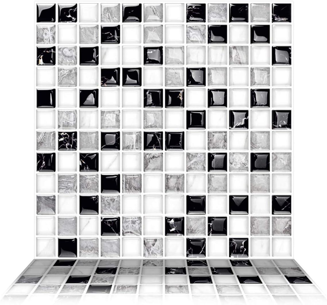 Vinilo Efecto de mosaico realista con textura 3D 25x25cm-6UN