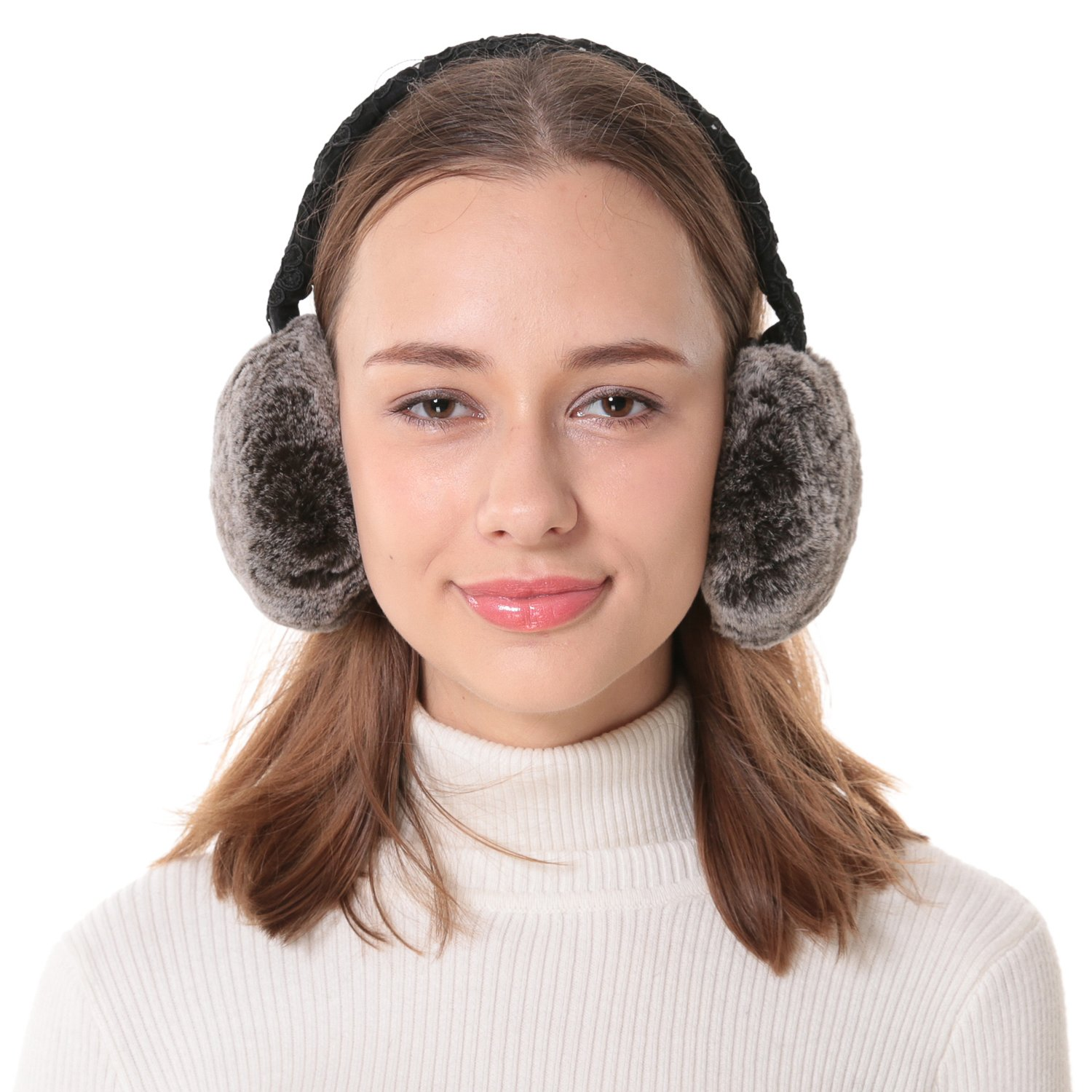 Women's Rex Rabbit Fur Embroidered Lace Band Earmuffs Brown Snow Top.