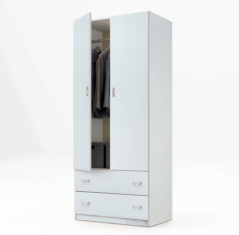 Armario ropero Color Blanco Brillo de 2 Puertas y 2 cajones, Barra cromada para Colgar incluida, para Dormitorio. 180cm Altura x 74cm Ancho x 50cm Fondo.