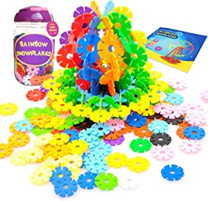 KuToi Rainbow Snow Flakes 300 Discs | STEM Educational Brain Building Toy | Interlocking Plastic Construction Connect Set | Promotes Fine Motor Skills Development - Therapy Tools
