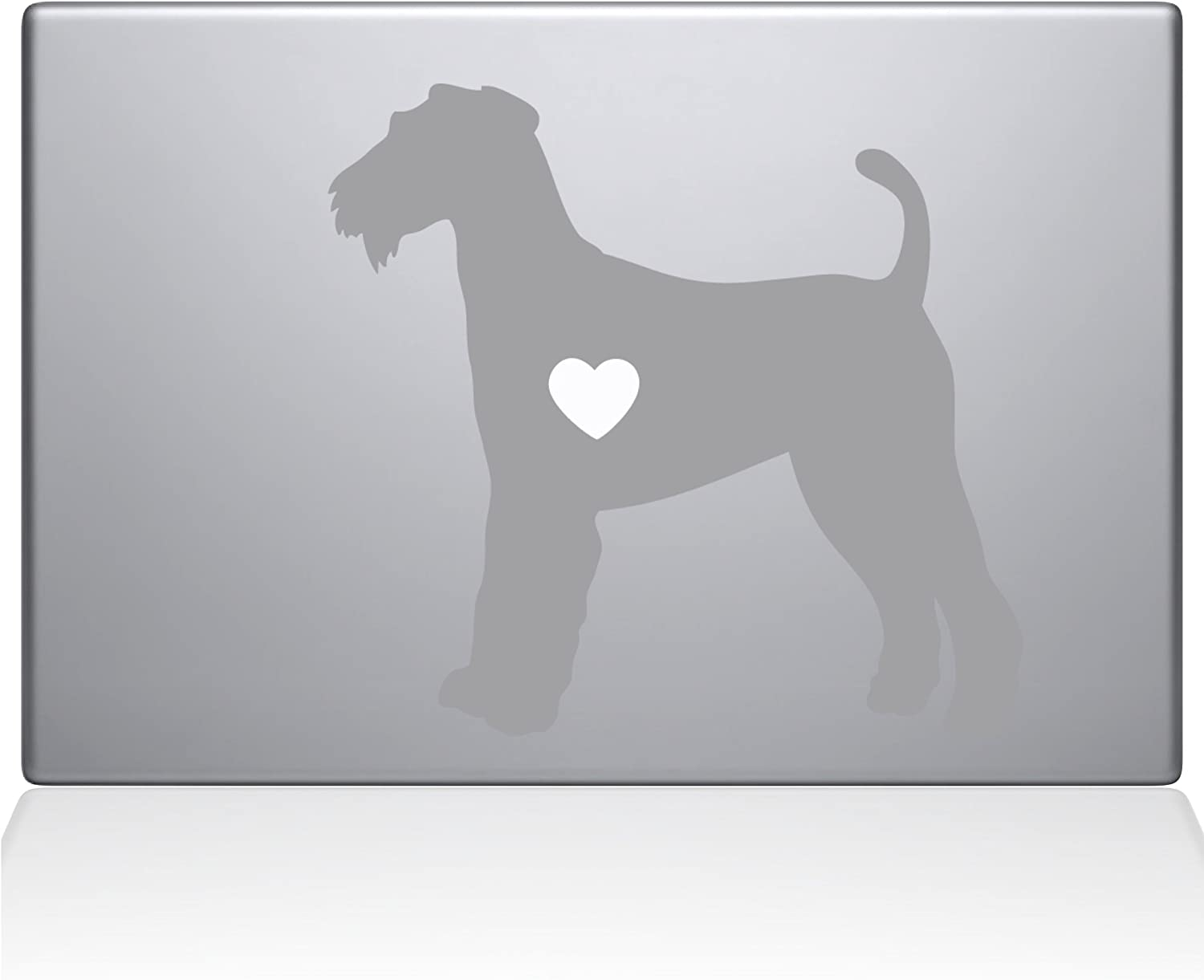 "The Decal Guru Airedale Terrier Love Silhouette Decal Vinyl Sticker, 13"" MacBook Pro (2016 & Newer Models), Silver (2335-MAC-13X-S)"