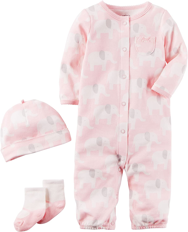 Carters 3 Piece Girls Bodysuits And Pant Set Elephant Newborn