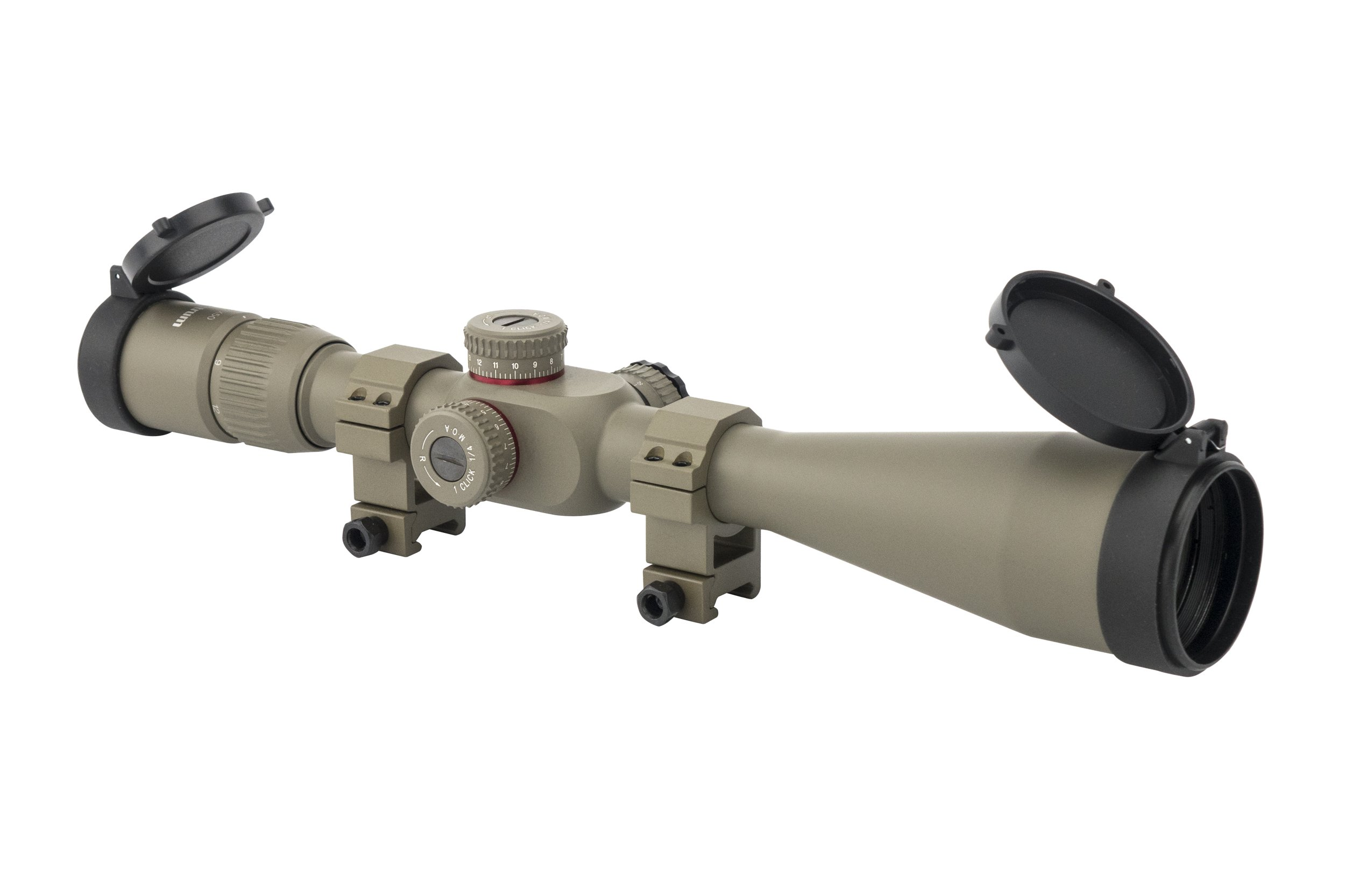 Monstrum Tactical G2 6-24x50 First Focal Plane (FFP) Rifle Scope with Illuminated Rangefinder Reticle and Adjustable Objective (Flat Dark Earth/Flat Dark Earth Rings)