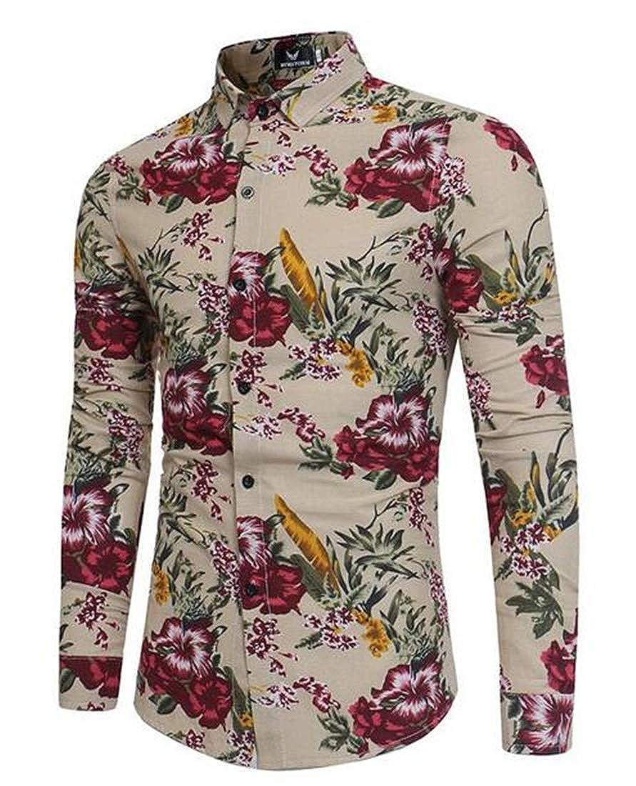 BU2H Men Hipster Long Sleeve Floral Print Boyfriend Button up Shirts