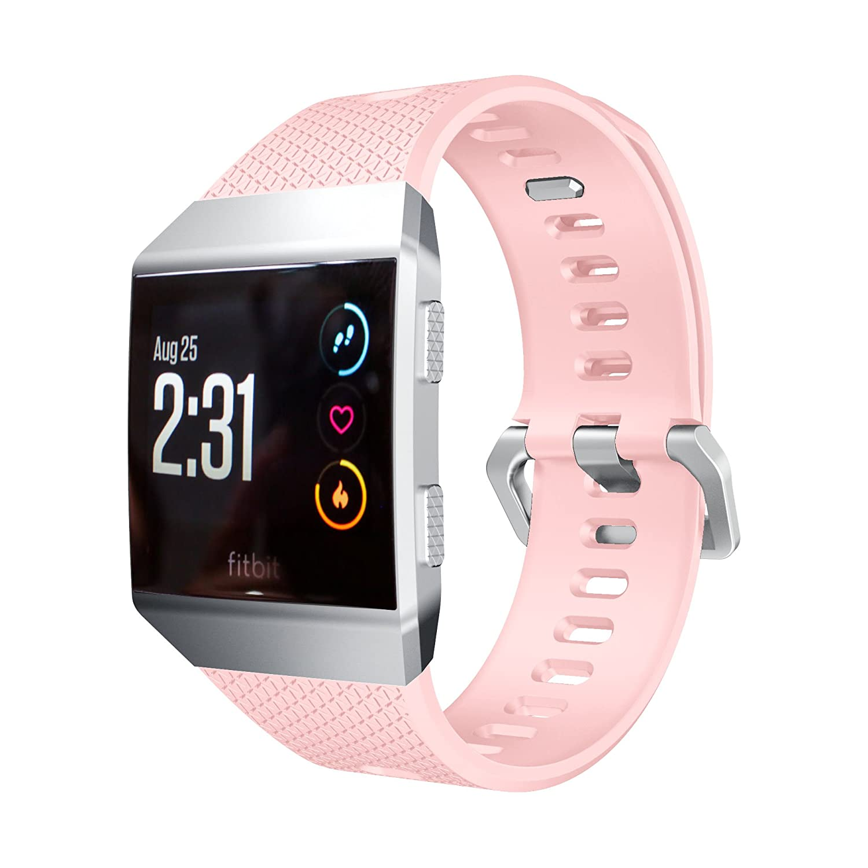 Fitbit Ionic帯、ibazalシリコンスポーツバンドソフト交換用リストバンドストラップfor Fitbit Ionic Fitness Watch Large:6.7inch 8.2inch|Silicone Pink Silicone Pink Large:6.7inch 8.2inch B0769G43WP